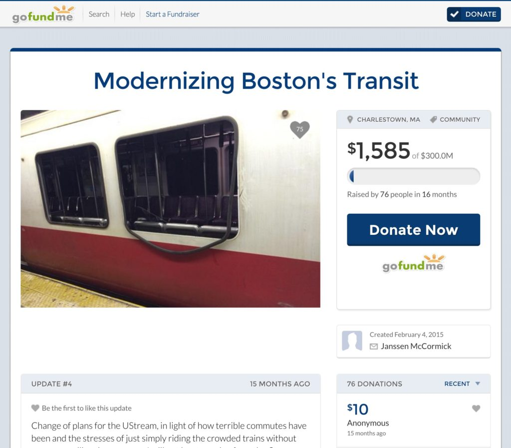 Screenshot: crowdsourced sustainable transport projects Boston MBTA Crowdfunding proposal on GoFundMe in 2015