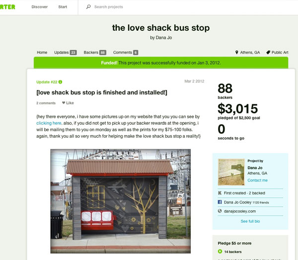 Screenshot: crowdsourced sustainable transport projects Kickstarter love shack bus shelter