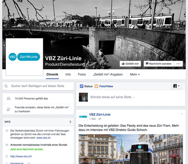 Screenshot: Züri-Linie (Facebook)