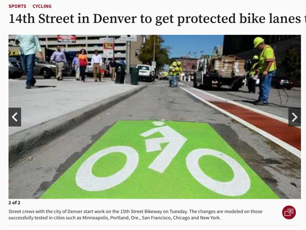 Screenshot: crowdsourced sustainable transport projects 15th street bikeway Denver, from Denver Post 5 may 2016