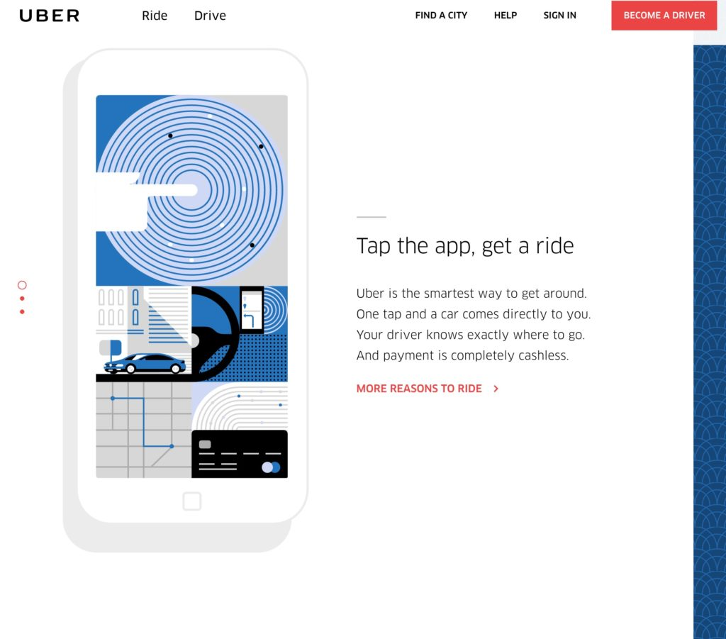 Uber homepage screenshot